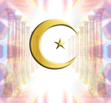 Heaven with golden Islamic-Sufi Moon poster