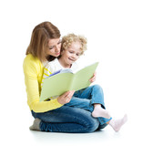young mom reading a book to her child