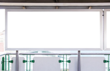 Blank billboard in skytrain station