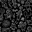 Playing children. Black and white seamless pattern.
