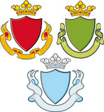 Heraldic Shield, Ribbons, Crown