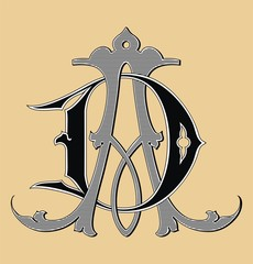 Vintage monogram AD tattoo