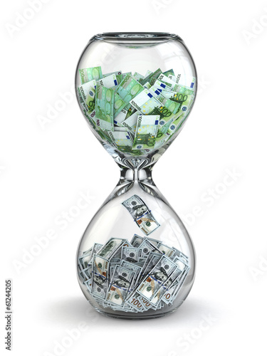 Stock exchange. Hourglass, dollar and euro.