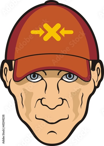 Man head and baseball cap