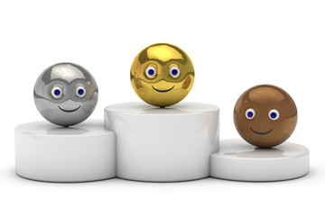podium with 3d ball smiley symbol