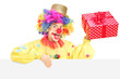 Male clown with cheerful expression holding present behind blank