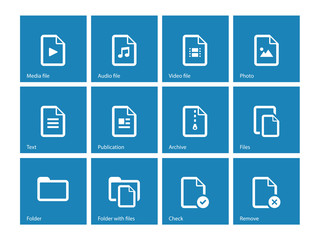 Set of Files icons on blue background.