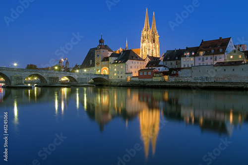 Cathedral and Stone Bridge in Regensburg at evening, Germany