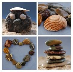 Collage - Steine Muscheln Sand