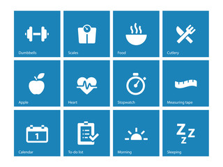 Fitness icons on blue background.