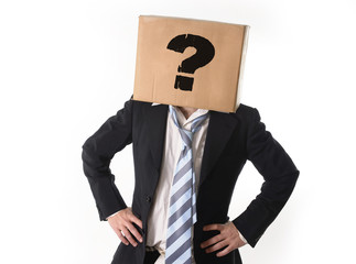 Business man asking for help with cardboard box on his head