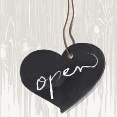 Herz aus Schiefer auf Holzwand, Öffnungszeiten,Vektor
