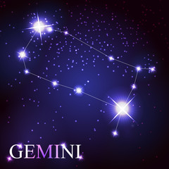 Gemini zodiac sign of the beautiful bright stars