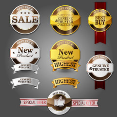 special offer badges and stikers new product gold