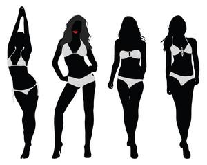 Silhouettes of bikini girls, vector illustration