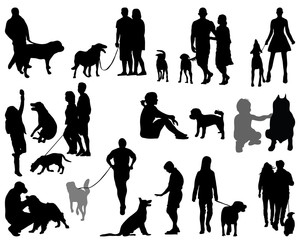 Black silhouettes and shadows of people with dogs, vector