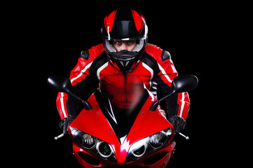 Motorcyclist in red equipment closeup portrait