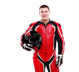 Biker in red equipment on white background