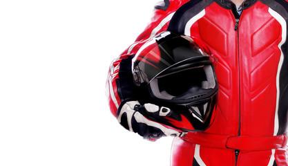 Closeup picture of a biker holding his helmet © iagodina