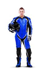 Full length portrait of a biker in dark blue equipment