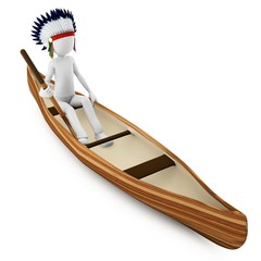 3d man indian warrior with canoe