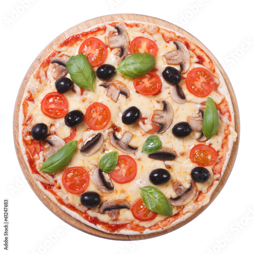 Mushroom pizza with olives, tomato and basil isolated