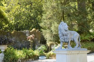Lyon statue in Gardens of Quinta Regaleira, Sintra