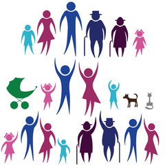 Silhouettes of woman man kid  family, vector illustration