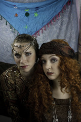 Two beautiful women dressed as gypsies
