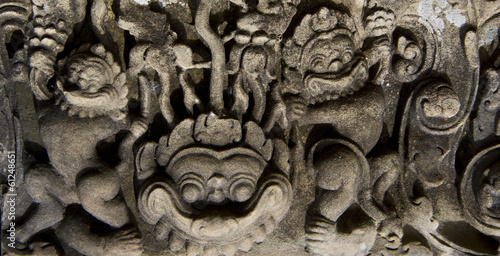 close up of bas-relief in Angkor Wat
