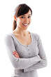 Waist up portrait of beautiful smiling young woman