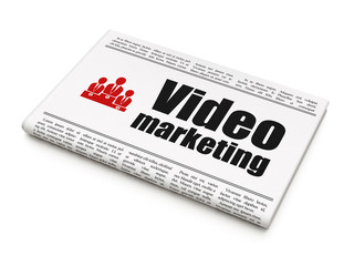 Finance concept: newspaper with Video Marketing and Business