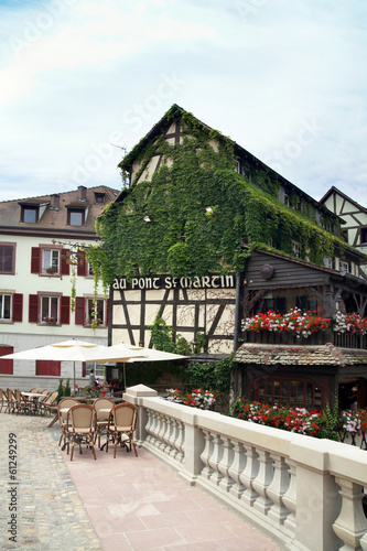 Old styled cafe in Petite-France, Strasburg  on June 15, 2012