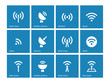 Radio Tower icons on blue background.
