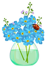 Bouquet of forget-me-not flowers in a glass vase. Ladybird.