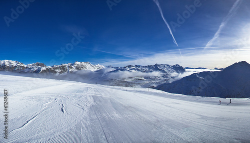 Slope on the skiing resort in Alps. Livigno, Italy|61249607