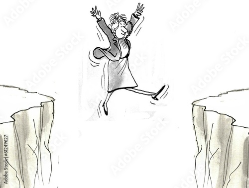Businesswoman leaps from mountain to mountain