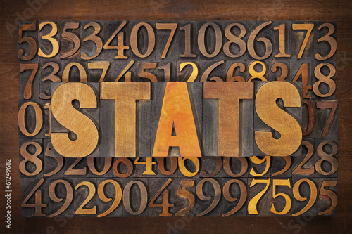 stats (statistics) word in wood type
