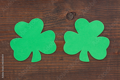Two Shamrocks on Wood