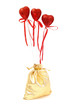 Golden gift bag with hearts for valentine's day