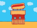 Hot dog parlor at the beach poster