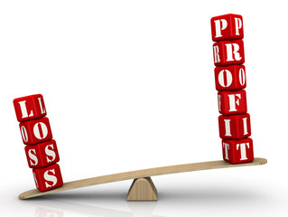 PROFIT or LOSS. Words on the scales