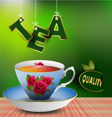 An example of a cup of tea on the table. eps 10 vector.