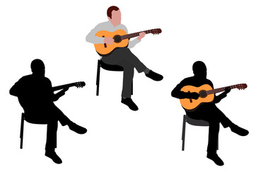 man  playing acoustic guitar  illustration  - vector