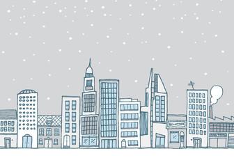 White urban landscape in snowy weather