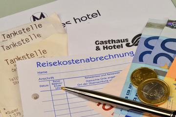 Reisekostenabrechnung, Tankbelege, Übernachtungskosten