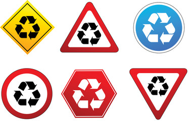 Recycling symbol in traffic signs