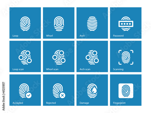 Fingerprint and thumbprint icons on blue background.
