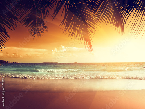 canvas print picture sunset on the beach of caribbean sea