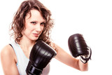 Sport boxer woman in gloves. Fitness girl training kick boxing